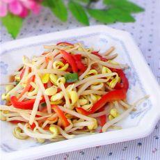 红椒豆芽的做法