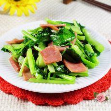 火腿炒白菜苔的做法