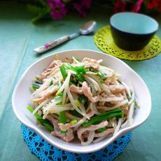 韭菜银芽炒肉丝