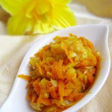 胡萝卜丝炒包菜的做法