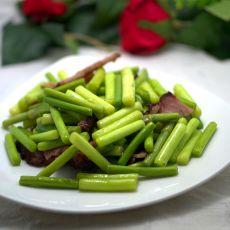 腊肉炒蒜苔