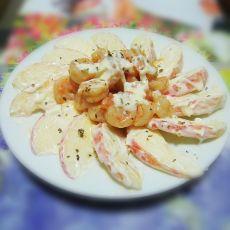 芝士虾仁苹果沙拉的做法