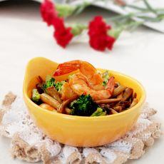 鲜虾时蔬茶树菇的做法