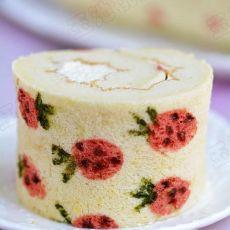 彩绘草莓奶油蛋糕卷