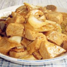 豆腐炒肉片