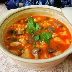 茄汁豆腐秀珍菇煲的做法