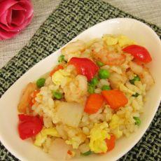 鸡蛋虾仁炒米饭的做法