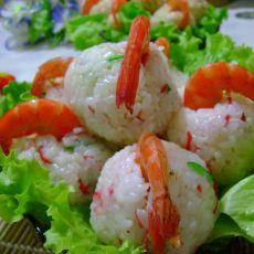 鲜虾饭团的做法