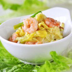 虾仁烩白菜心的做法