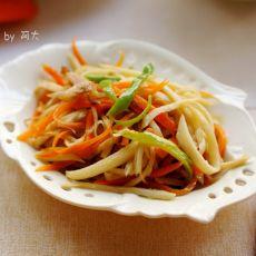 茭白胡萝卜肉丝的做法