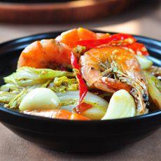 干锅鲜虾娃娃菜的做法
