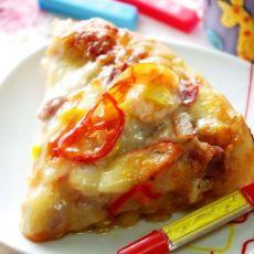 用料十足的鲜虾南瓜酱披萨