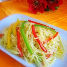 家常菜 彩椒土豆丝的做法