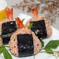茄汁大虾饭团的做法