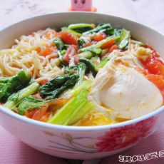 西红柿小白菜热汤面的做法