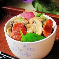 洋葱蘑菇炒香肠
