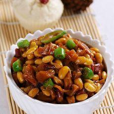 杭椒黄豆嘴儿炒萝卜干的做法
