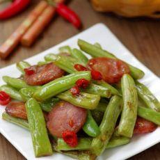 超级下饭的腊肠干煸四季豆