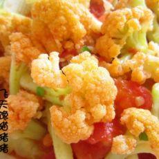 西红柿炖花菜的做法