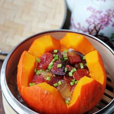 腊肉南瓜盅   懒人简易煲仔饭的做法