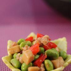 肉末豆米杏鲍菇丁的做法