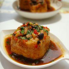 豆豉蒸油豆腐塞肉