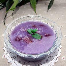 刮油炒米紫薯粥