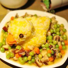 小黄鸭豌豆香菇盖饭