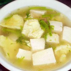 口蘑豆腐蛋皮汤