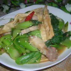 烧肉腐竹炒芥菜