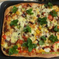 七彩蔬果火腿披萨