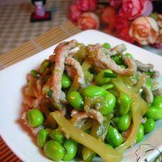 榨菜肉丝炒毛豆的做法