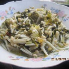 酸菜炒金针菇