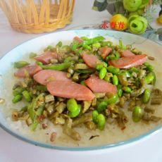 火腿咸菜快餐糯米饭