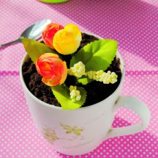 仿真花盆蛋糕