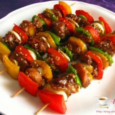 彩椒烤鸡串的做法