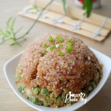 豌豆花生粉蒸肉的做法