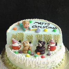 熊出没场景圣诞蛋糕的做法