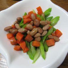 胡萝卜西芹拌花生米的做法