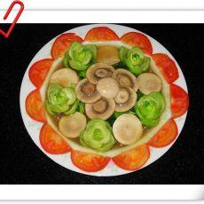 口蘑炒油菜―翡翠映白玉