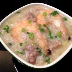 海虾肉片砂锅粥