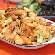菜花香辣虾的做法