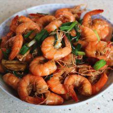 香葱炒虾的做法