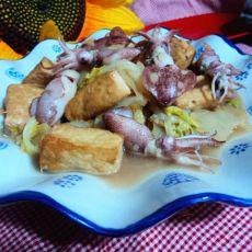 白菜豆腐炖笔管鱼