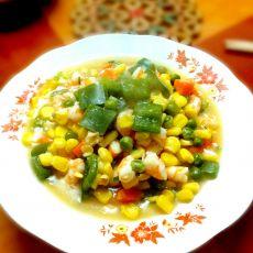 玉米青椒虾仁的做法