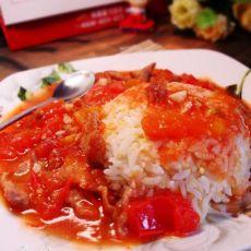 西红柿肉片盖饭