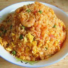 茄汁豌豆虾仁炒饭