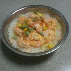 虾仁黄萝卜芝士�h饭