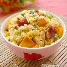 金瓜腊肠焖饭的做法