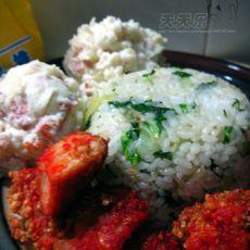 鸡排土豆泥菜饭套餐